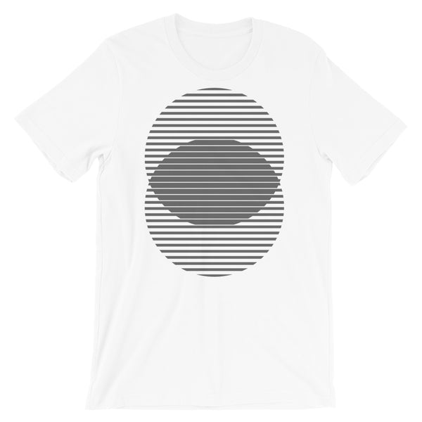 Grey Lined Circles Unisex T-Shirt Abyssinian Kiosk Joining Circles Fashion Cotton Apparel Clothing Bella Canvas Original Art