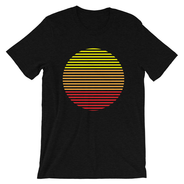Yellow to Red Lined Circle Unisex T-Shirt Abyssinian Kiosk Fashion Cotton Apparel Clothing Bella Canvas Original Art