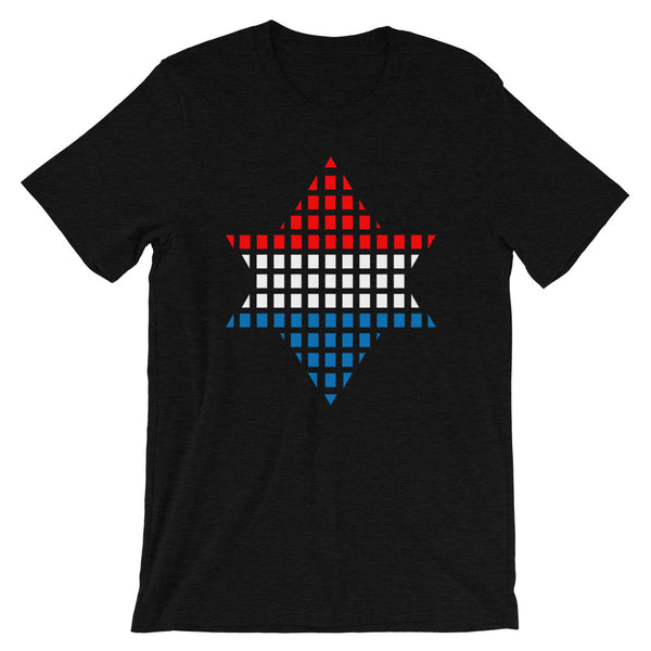 Red White Blue Boxes Star of David Unisex T-Shirt Abyssinian Kiosk Rectangles Jewish Falasha Abyssinia Ethiopia Bella Canvas Original Art Fashion Cotton Apparel Clothing