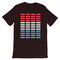Red White Blue Bars Unisex T-Shirt Abyssinian Kiosk Rectangle Bars Spaced Evenly Grid Pattern Fashion Cotton Apparel Clothing Bella Canvas Original Art