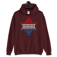 Red White Blue Boxes Star of David Unisex Hoodie Abyssinian Kiosk Rectangles Jewish Falasha Abyssinia Ethiopia Gildan Original Art Fashion Cotton Apparel Clothing