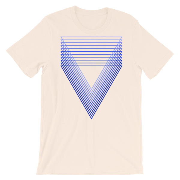 Blue Chiaroscuro Triangles Unisex T-Shirt From Light to Bold Color Abyssinian Kiosk Fashion Cotton Apparel Clothing Bella Canvas Original Art