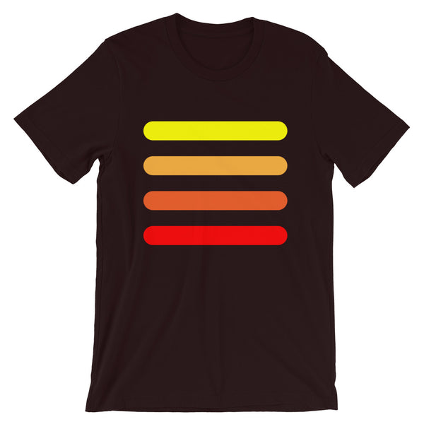 Yellow to Red Bars Unisex T-Shirt Abyssinian Kiosk Orange Lines Fashion Cotton Apparel Clothing Bella Canvas Original Art