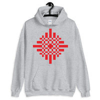 Red Pixel Cross Unisex Hoodie Abyssinian Kiosk Equal Armed Cross Pixelated Fashion Cotton Apparel Clothing Gildan Original Art