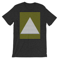 Yellow White Lined Pyramid Unisex T-Shirt Abyssinian Kiosk Fashion Cotton Apparel Clothing Bella Canvas Original Art
