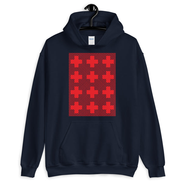 Criss Cross Red Unisex Hoodie Abyssinian Kiosk 12 Small Equal Arm Crosses Christian Gildan Original Art Fashion Cotton Apparel Clothing