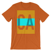 Yellow Cyan CA Unisex T-Shirt Abyssinian Kiosk California State Fashion Cotton Apparel Clothing Bella Canvas Original Art