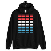 Red White Blue Grid Bars Unisex Hoodie Abyssinian Kiosk Rectangle Bars Spaced Evenly Grid Pattern Fashion Cotton Apparel Clothing Gildan Original Art