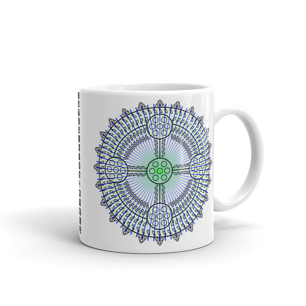 Black Outline Cross Blue Green Star Kaffa Mug