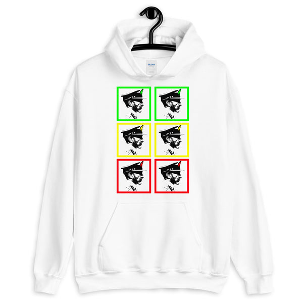 Pop Art GYR Haile Selassie Unisex Hoodie Abyssinian Kiosk Emperor Rasta Rastafari Black Ethiopian Ethiopia Africa African Abyssinia Habesha History Military Uniform Art Portrait Vintage Reggae Gildan Original Art Fashion Cotton Apparel Clothing