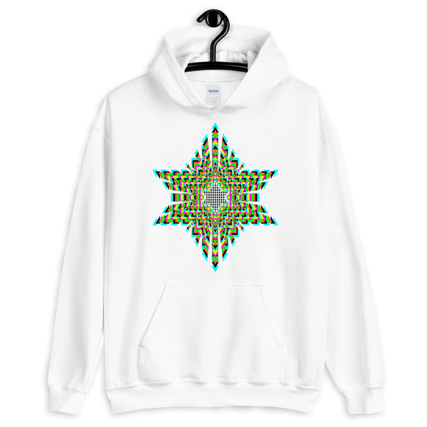 Black Boxes Psychedelic Star of David Unisex Hoodie Abyssinian Kiosk Rectangles Jewish Falasha Ethiopia Trip Trippy Colorful Gildan Original Art Fashion Cotton Apparel Clothing