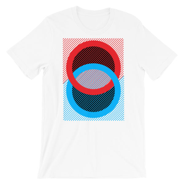Red Blue Rings Black Inner Unisex T-Shirt Abyssinian Kiosk Fashion Cotton Apparel Clothing Bella Canvas Original Art