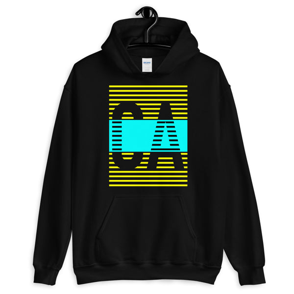 Yellow Cyan CA Unisex Hoodie Abyssinian Kiosk California State Fashion Cotton Apparel Clothing Gildan Original Art