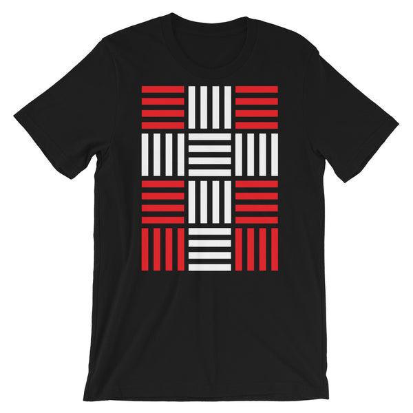 4 Lines White Cross Red Unisex T-Shirt Abyssinian Kiosk Christian Bella Canvas Original Art Fashion Cotton Apparel Clothing