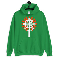 White Cross Red Rays Unisex Hoodie Ethiopian Coptic Orthodox Abyssinian Kiosk Christian Apparel Gildan Clothing