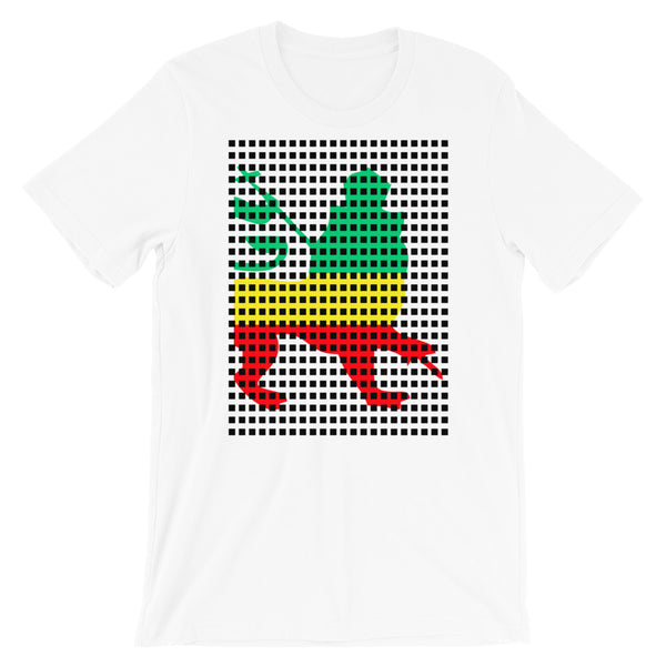 Black Squares GYR Lion Unisex T-Shirt Abyssinian Kiosk Green Yellow Red Ethiopia Ethiopian Lion of Judah Fashion Cotton Apparel Clothing Bella Canvas Original Art