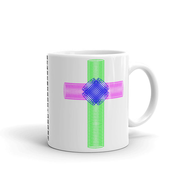 Green Magenta Blue Ellipse Cross Kaffa Mug
