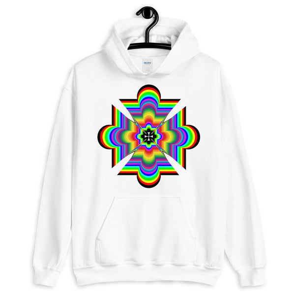Random Psychedelic Cross Black Unisex Hoodie Trip Trippy Colorful Ethiopian Coptic Orthodox Abyssinian Kiosk Christian Gildan Original Art Abyssinian Kiosk Fashion Cotton Apparel Clothing