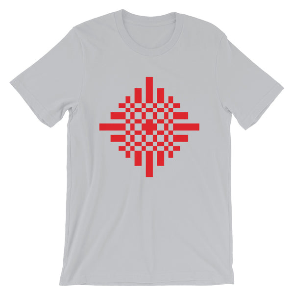Red Pixel Cross Unisex T-Shirt Abyssinian Kiosk Equal Armed Cross Pixelated Fashion Cotton Apparel Clothing Bella Canvas Original Art