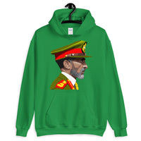 Haile Selassie Color Profile Unisex Hoodie Abyssinian Kiosk Emperor Rasta Rastafari Green Yellow Red Ethiopian Flag Ethiopia Africa African Abyssinia Habesha History Military Uniform Art Portrait Vintage Reggae Gildan Original Art Fashion Cotton Apparel Clothing