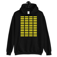 Yellow Grid Bars Unisex Hoodie Abyssinian Kiosk Rectangle Bars Spaced Evenly Grid Pattern Fashion Cotton Apparel Clothing Gildan Original Art