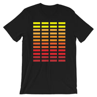 Yellow to Red Grid Bars Unisex T-Shirt Abyssinian Kiosk Rectangle Bars Spaced Evenly Grid Pattern Fashion Cotton Apparel Clothing Bella Canvas Original Art