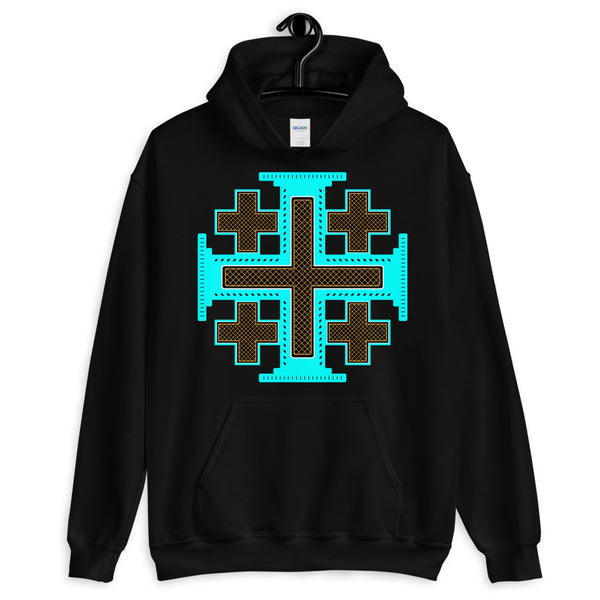 Cyan Black Orange #12 Cross Unisex Hoodie Abyssinian Kiosk Ethiopian Christian Jesus Religion Equal Arm Gildan Original Art Fashion Cotton Apparel Clothing
