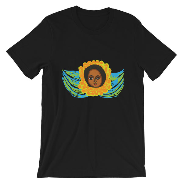 Green Blue Angel Unisex T-Shirt Traditional Ethiopian with Feathers and Wings Abyssinian Kiosk Ethiopian Bella Canvas Original Art Fashion Cotton Apparel Clothing