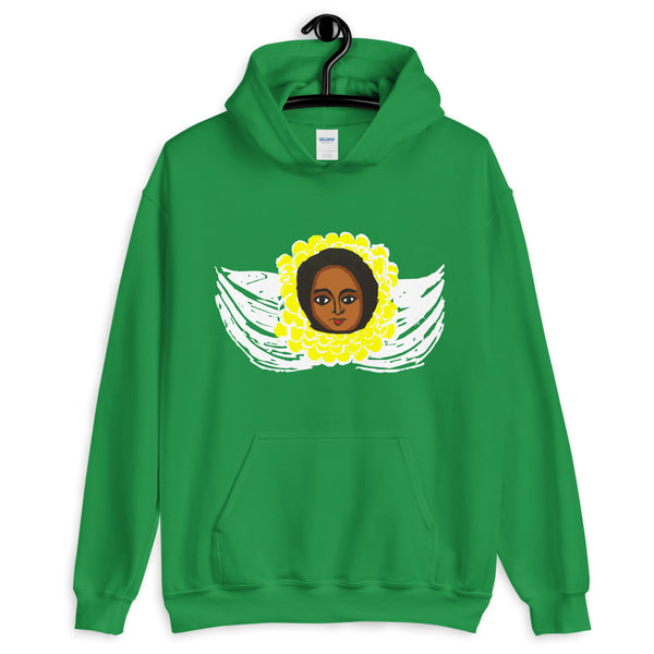 Yellow White Angel Unisex Hoodie Traditional Ethiopian with Feathers and Wings Abyssinian Kiosk Ethiopian Gildan Original Art Fashion Cotton Apparel Clothing