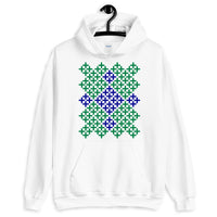 Dark Green & Navy Blue Cross Pattern Unisex Hoodie Abyssinian Kiosk Ethiopian Coptic Orthodox Tewahedo Christian Gildan Original Art Fashion Cotton Apparel Clothing