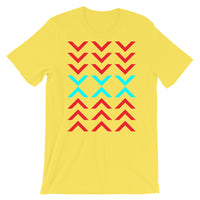 Arrows Down Up Red Cyan Unisex T-Shirt Abyssinian Kiosk Fashion Cotton Apparel Clothing Bella Canvas Original Art
