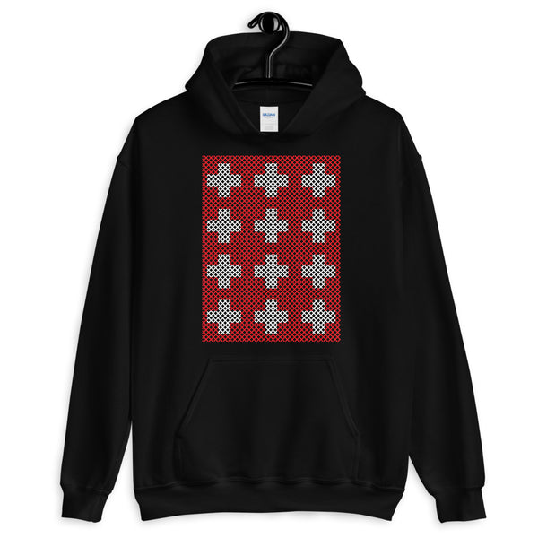 Criss Cross Red White Unisex Hoodie Abyssinian Kiosk 12 Small Equal Arm Crosses Christian Gildan Original Art Fashion Cotton Apparel Clothing