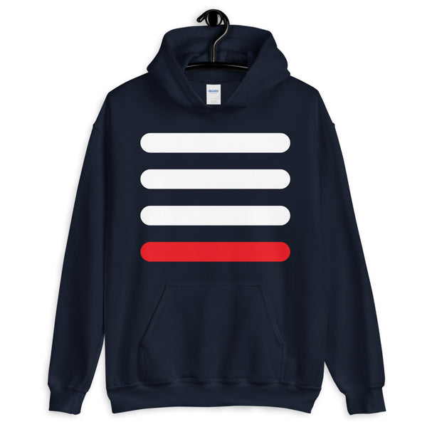3 White Bars 1 Red Unisex Hoodie Abyssinian Kiosk Lines Fashion Cotton Apparel Clothing Gildan Original Art
