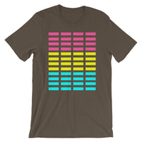 Pink Yellow Cyan Bars Unisex T-Shirt Abyssinian Kiosk Rectangle Bars Spaced Evenly Grid Pattern Fashion Cotton Apparel Clothing Bella Canvas Original Art