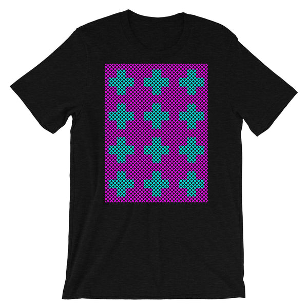 Criss Cross Magenta Cyan Unisex T-Shirt Abyssinian Kiosk 12 Small Equal Arm Crosses Christian Bella Canvas Original Art Fashion Cotton Apparel Clothing