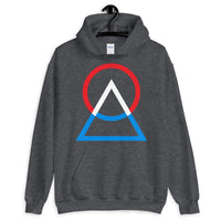 Red White Blue Circle Triangle Unisex Hoodie Abyssinian Kiosk Harmonious Meeting Fashion Cotton Apparel Clothing Gildan Original Art