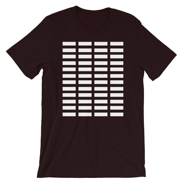 White Bars Unisex T-Shirt Abyssinian Kiosk Rectangle Bars Spaced Evenly Grid Pattern Fashion Cotton Apparel Clothing Bella Canvas Original Art