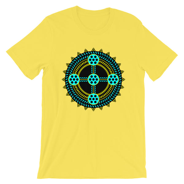Black Cyan Yellow Cross Unisex T-Shirt Abyssinian Kiosk Ethiopian Coptic Orthodox Tewahedo Christian Bella Canvas Original Art Fashion Cotton Apparel Clothing