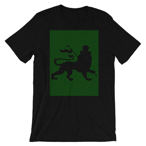 Green Diagonal Lines Blank Lion Unisex T-Shirt Ethiopian Lion of Judah Abyssinian Kiosk Ethiopia Bella Canvas Original Art Fashion Cotton Apparel Clothing