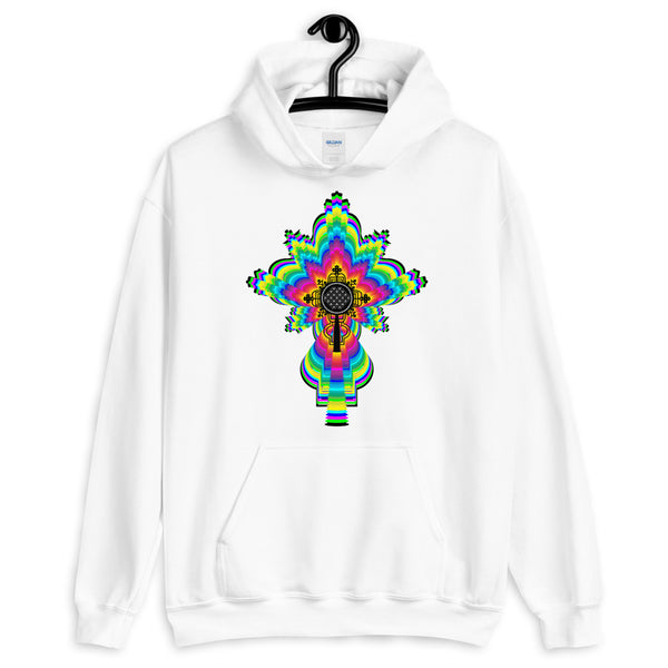 Psychedelic Black #10 Cross Unisex Hoodie Trip Trippy Colorful Ethiopian Coptic Orthodox Abyssinian Kiosk Christian Gildan Original Art Abyssinian Kiosk Fashion Cotton Apparel Clothing
