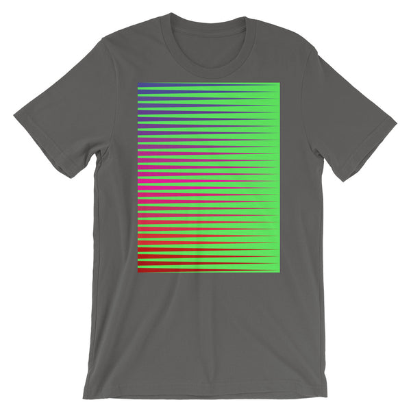 Purple to Red Streaks Green Background Unisex T-Shirt Abyssinian Kiosk Fashion Cotton Apparel Clothing Bella Canvas Original Art
