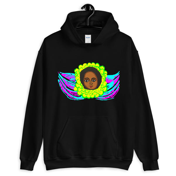 Cyan & Magenta Angel Unisex Hoodie Traditional Ethiopian with Feathers and Wings Abyssinian Kiosk Ethiopian Gildan Original Art Fashion Cotton Apparel Clothing