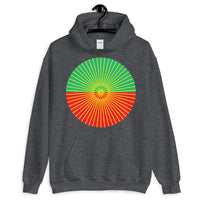 Yellow Cube Spokes Green Top Red Bottom Unisex Hoodie Abyssinian Kiosk Squares Bicycle Spokes Dual Color Circle Fashion Cotton Apparel Clothing Gildan Original Art