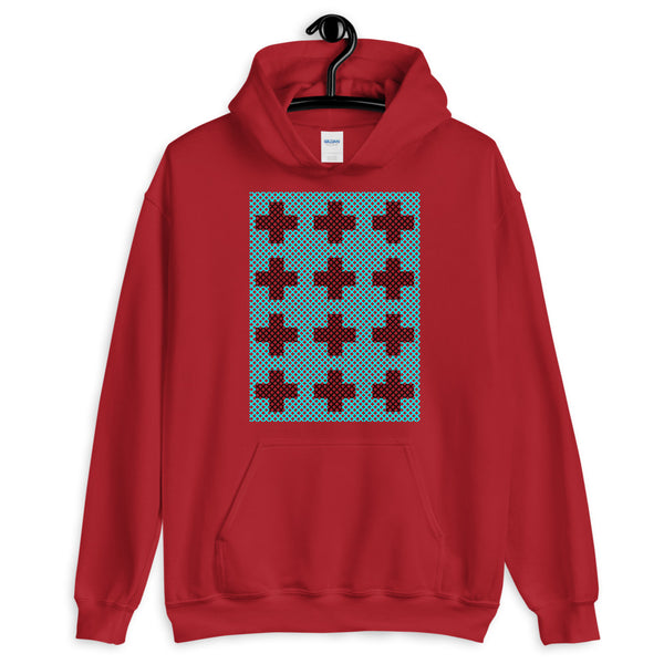 Criss Cross Cyan Black Unisex Hoodie Abyssinian Kiosk 12 Small Equal Arm Crosses Christian Gildan Original Art Fashion Cotton Apparel Clothing