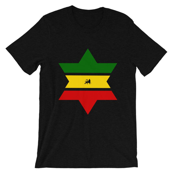 Green, Yellow, Red Star of David Unisex T-Shirt Abyssinian Kiosk Solid Star Separated Into 3 Parts Lion of Judah Jewish Falasha Ethiopia Bella Canvas Original Art Fashion Cotton Apparel Clothing