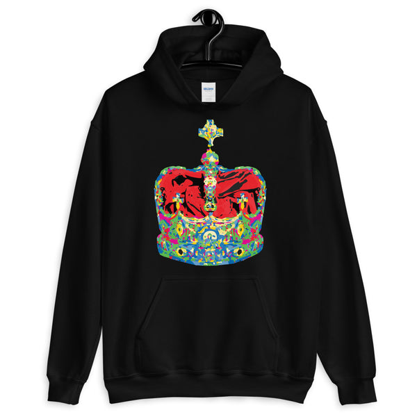 Funky Crown Red Unisex Hoodie Abyssinian Kiosk Empress Menen Crown Haile Selassie Colors African Royal Royalty Fashion Cotton Apparel Clothing Gildan Original Art