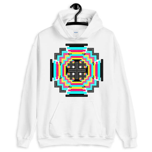 Psychedelic #12 Cross Black Unisex Hoodie Abyssinian Kiosk Equal-Armed Cross Ethiopian Jesus Christian Trip Trippy Colorful Gildan Original Art Fashion Cotton Apparel Clothing