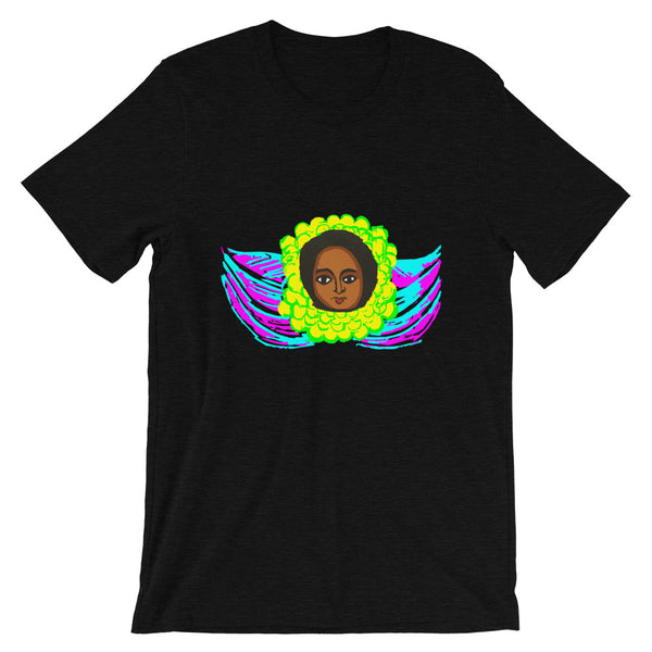 Cyan & Magenta Angel  Unisex T-Shirt Traditional Ethiopian with Feathers and Wings Abyssinian Kiosk Ethiopian Bella Canvas Original Art Fashion Cotton Apparel Clothing