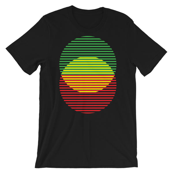 GYR Lined Circles Unisex T-Shirt Abyssinian Kiosk Joining Circles Fashion Cotton Apparel Clothing Bella Canvas Original Art Green Yellow Red Ethiopian Flag