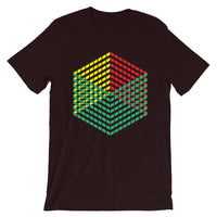 Green Yellow Red Cube Illusion Unisex T-Shirt Abyssinian Kiosk 3D Bars Polygon Fashion Cotton Apparel Clothing Bella Canvas Original Art